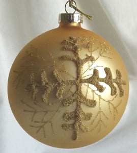 (CH) * Hand Decorated Mouth Blown Glass * Ball Christmas Ornament  8 cm *Glitter on Gold* SOLD OUT!