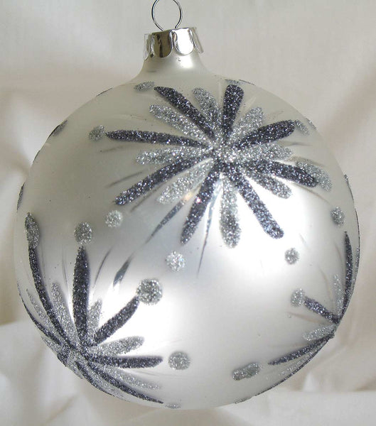 Glass Ball Christmas Ornament 10 cm Silver / silver glitter - CTB0668-2-T