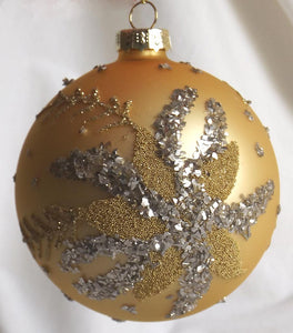 (CH) * Hand Decorated Mouth Blown Glass * Ball Christmas Ornament 10cm *Gold with Glitter* CTB073-1-T