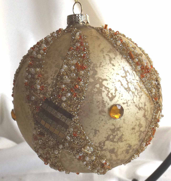 Glass Ball Christmas Ornament  12 cm *Gold with Crystals*  CTB0762-3-T