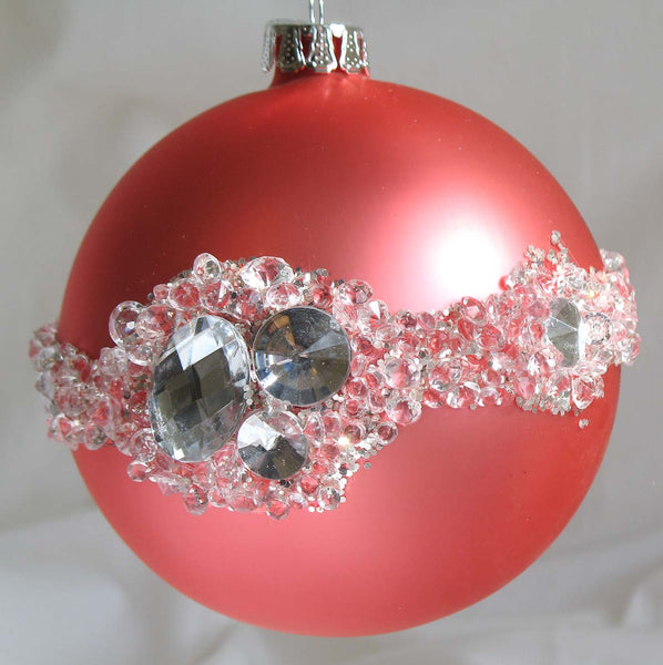Glass Ball Christmas Ornament 10 cm *Pink with Crystals* CTB0821-2-T