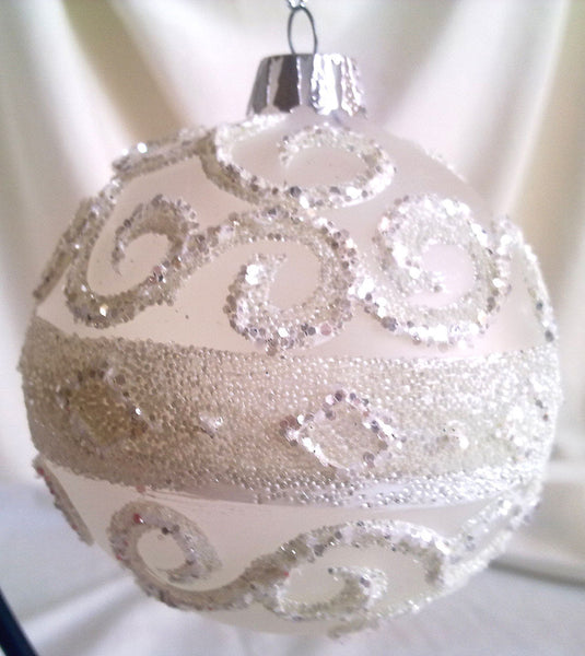 Glass Ball Christmas Ornament 10 cm White Glitter Beads Frosted Glass CTB121011-2-T