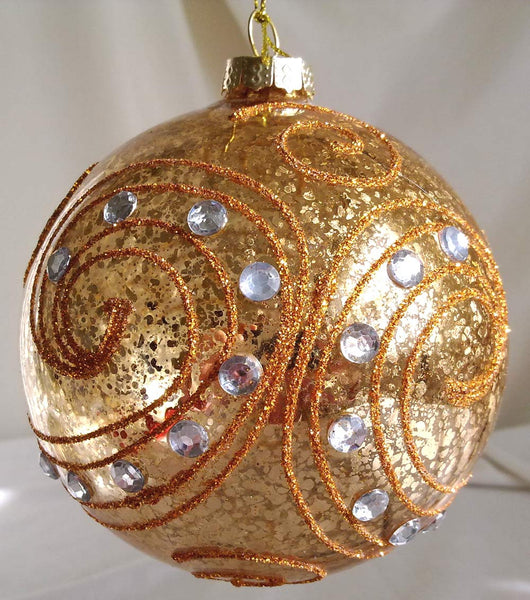 Glass Ball Christmas Ornament 10 cm *Gold a w Crystals* CTB6042-2-T