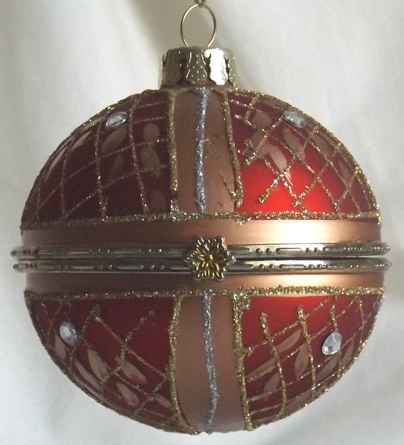 (CH) * Hand Decorated Mouth Blown Glass * Ball Christmas Ornament 8cm *Opens in the middle* SOLD OUT!