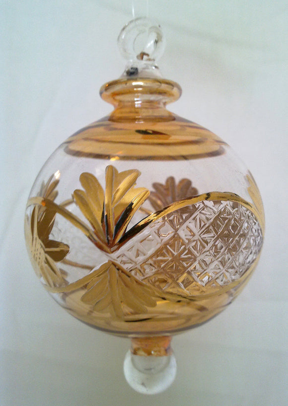 (CH) * Egyptian Hand Decorated Mouth Blown Glass * Christmas Ornament from Egypt *24K Gold Accents* CTBEG015A-1