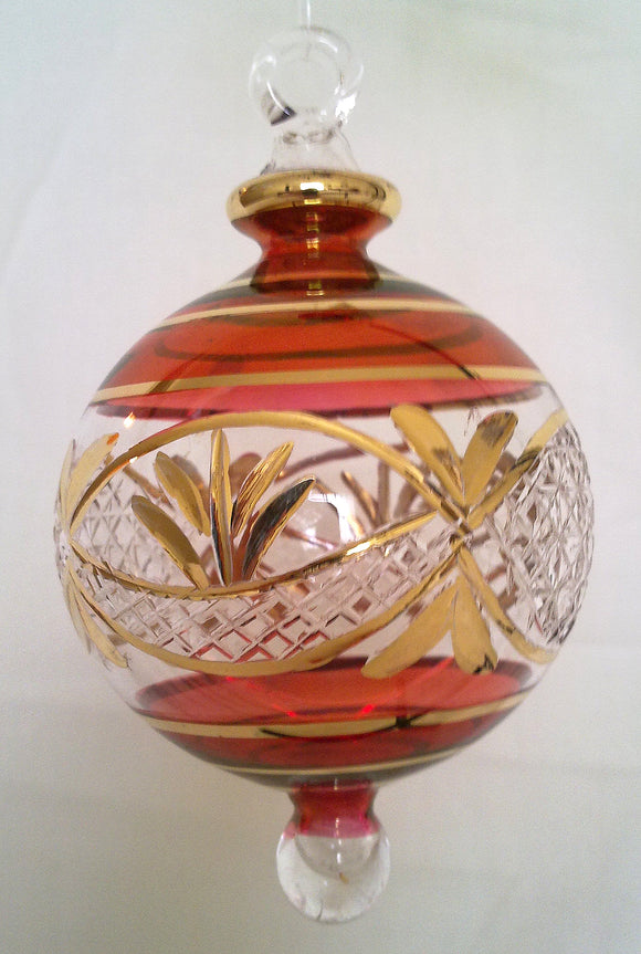 (CH) * Egyptian Hand Decorated Mouth Blown Glass * Christmas Ornament from Egypt *24K Gold Accents* CTBEG019R-1