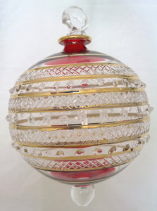 (CH) * Egyptian Hand Decorated Mouth Blown Glass * Christmas Ornament from Egypt *24K Gold Accents* CTBEG04R-3