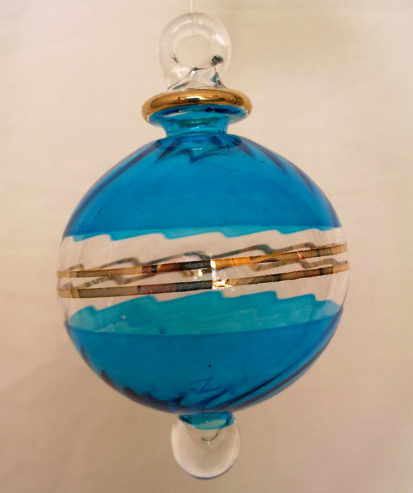 (CH) * Egyptian Hand Decorated Mouth Blown Glass * Christmas Ornament from Egypt *24K Gold Accents* CTBEG050B-1