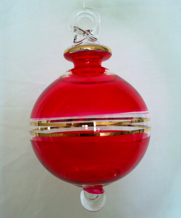 (CH) * Egyptian Hand Deocrated Mouth Blown Glass * Christmas Ornament from Egypt *Accents 24K Gold*