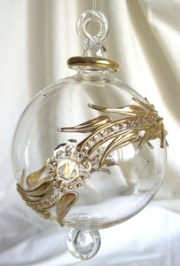 (CH) * Egyptian Hand Decorated Mouth Blown Glass * Christmas Ornament from Egypt 08cm *24K Gold Accents* SOLD OUT!