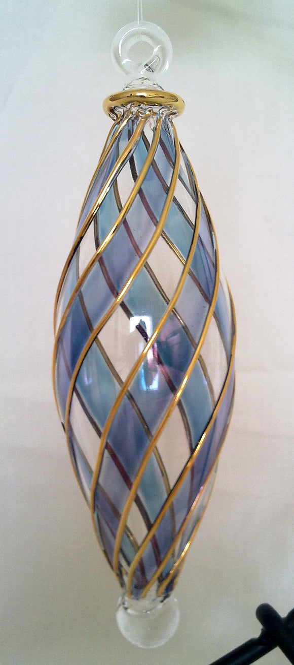 (CH) * Egyptian Hand Decorated Mouth Blown Glass * Christmas Ornament from Egypt *24K Gold Accents* CTDPEG01B-M