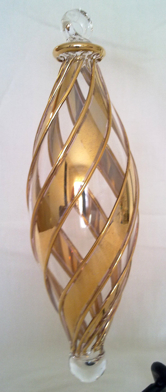 (CH) * Egyptian Hand Decorated Mouth Blown Glass * Christmas Ornament from Egypt *24K Gold Accents* CTDPEG01-M
