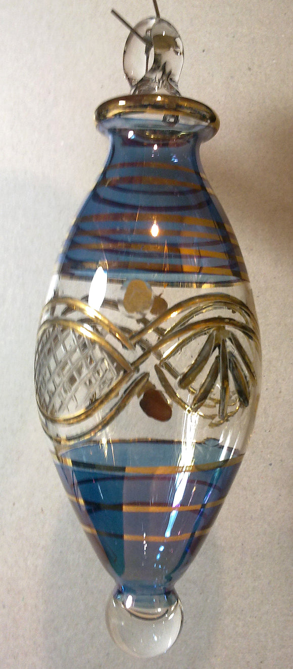 (CH) * Egyptian Hand Decorated Mouth Blown Glass * Christmas Ornament from Egypt *24K Gold Accents* CTDPEG22