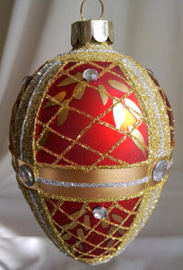 (CH) * Hand Decorated Mouth Blown Glass * Egg Christmas Ornament 8 x 12 cm SOLD OUT!