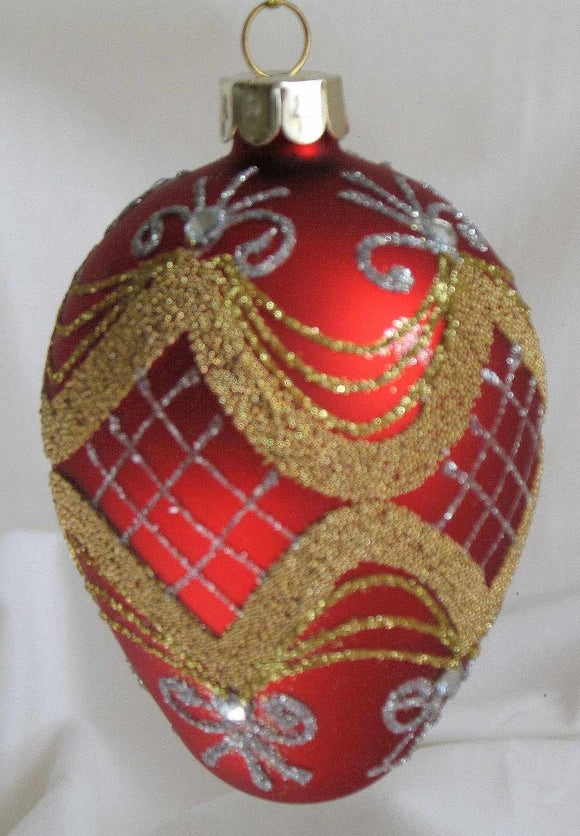 (CH) * Hand Decorated Mouth Blown Glass * Egg Christmas Ornament 7 X 10 cm *SOLD OUT!*
