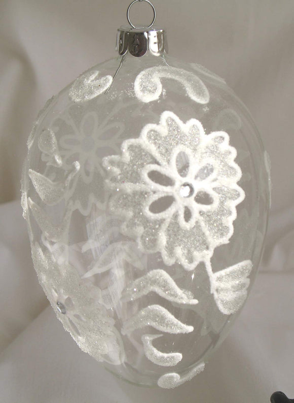 (CH) * Hand Decorated Mouth Blown Glass * Egg Christmas Ornament 8 x 12 cm CTE0648-2-T SOLD OUT!