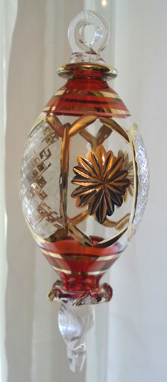 (CH) * Egyptian Hand Decorated Mouth Blown Glass * Christmas Ornament from Egypt *24K Gold Accents* CTEEG019