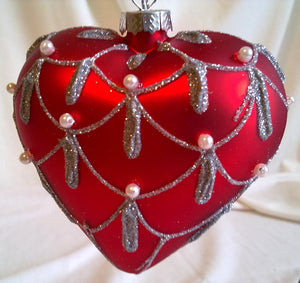 (CH) * Hand Decorated Mouth Blown Glass * Christmas Ornament Heart 08 cm * SOLD OUT! *