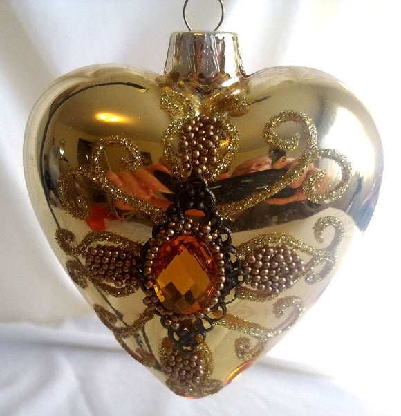 (CH) * Hand Decorated Mouth Blown Glass * Christmas Ornament Heart 08 cm CTH122040-1-T