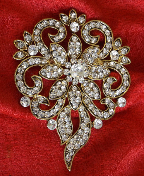 Wedding Hair Jewelled Brooch 8.0cm x 6.5cm wide