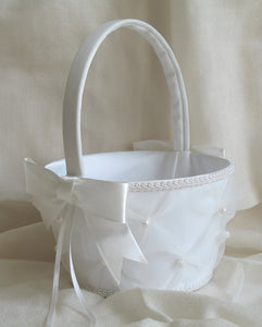 (W) Wedding B - Flower Girl Basket with Large Bow - Ivory FBI122(B)-T or White FBW122(B)-T
