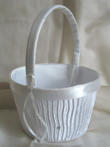 (W) Wedding B - Pleats and Crystals Flower Girl Basket - Ivory FBI143-T or White FBW143-T
