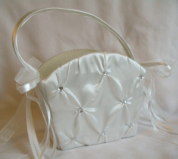 (W) Wedding B - Gathering Satin with Crystals Flower Girl Basket - Ivory FBI97817-T or White FBW97817-T