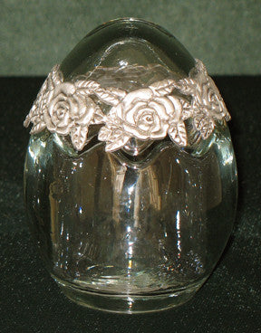 (P) Pewter Antique-Like Glass Candy Jar - (6.5 x 6.5 x 8.5 cm) LIMITED EDITION! G2202