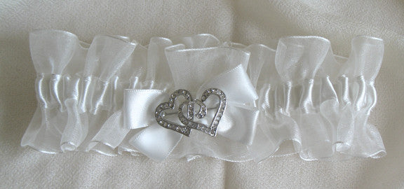 (W) Wedding G - Ivory Bridal Garter Twin Hearts GTI116-T