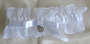 (W) Wedding G - White Bridal Garter with Sparkling Heart GTW128-T