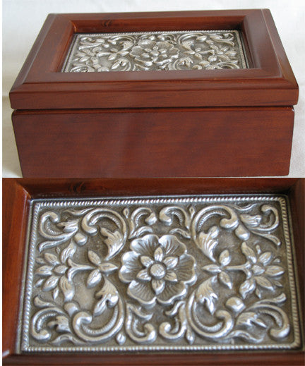 (P) Pewter Decorated Wooden Jewllery Box 15.0 x 11.0 x 6.0cm LIMITED EDITION! JB035P