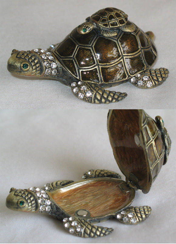 (T) * 24K Brushed Gold Jeweled Turtle with Baby * Trinket Box * JB0293