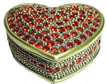 3.4 cm x 3.4 x 1.7 cm Trinket Jewelled Box - Red Heart SOLD OUT!
