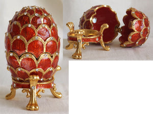 "(T) * 24K Brushed Gold Jeweled ""Faberge Style"" Egg * Trinket Box * SOLD OUT!"