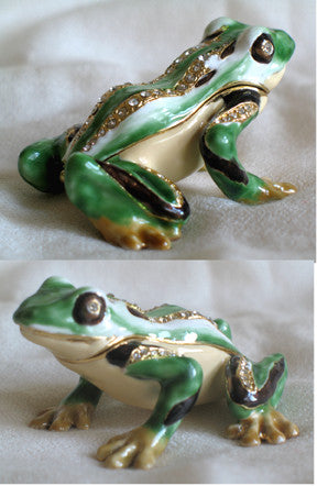 (T) * 24K Brushed Gold Jeweled Frog * Trinket Box * JB110K1