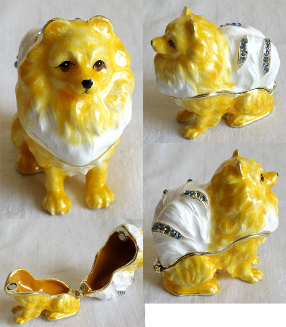 (T) * 24K Brushed Gold Jeweled Pomeranian Dog * Trinket Box *   JB1165