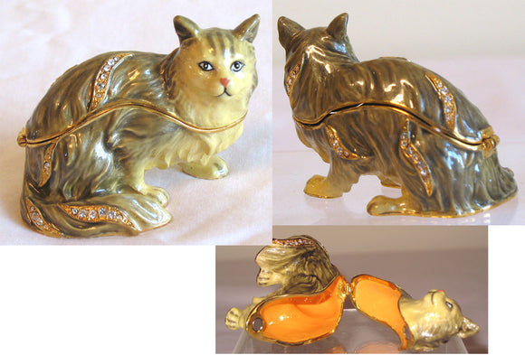 (T) * 24K Brushed Gold Jeweled Persian Cat * Trinket Box * JB19011