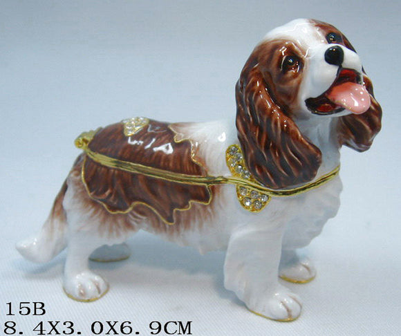 (T) * 24K Brushed Gold Jeweled Cocker Spaniel * Trinket Box *JB19115B