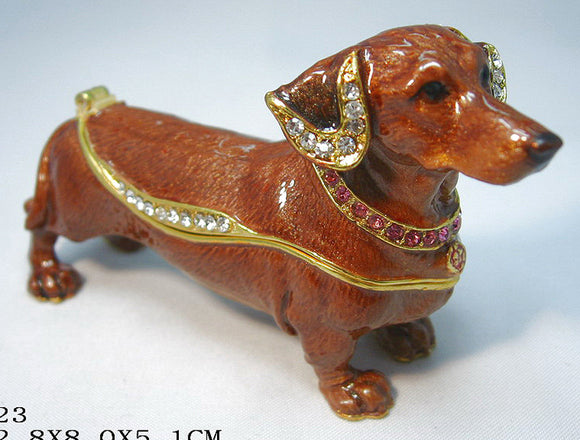 (T) * 24K Brushed Gold Jeweled Dachshund * Trinket Box * JB19123