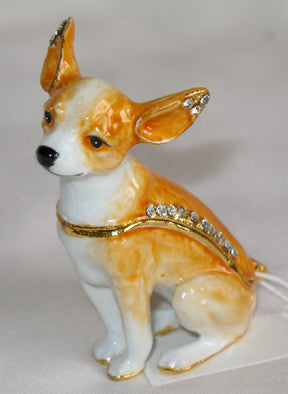 (T)  * 24K Brushed Gold Jeweled Chihuahua * Trinket Box * JB19137