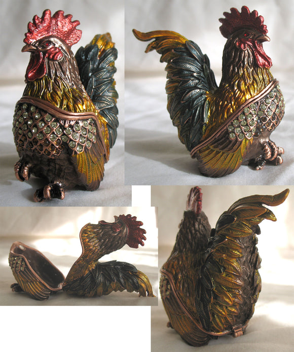 (T) * Jeweled Rooster * Trinket Box * JB19716B
