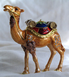(T) * 24K Brushed Gold Jeweled Camel * Trinket Box * JB19943A