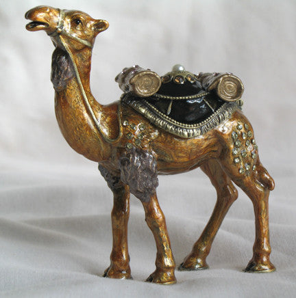 (T) * 24K Brushed Gold Jeweled Camel * Trinket Box * JB19943B