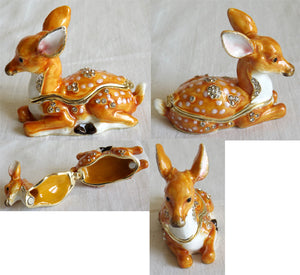 (T) * 24K Brushed Gold Jeweled Deer (Fawn) * Trinket Box *JB2880