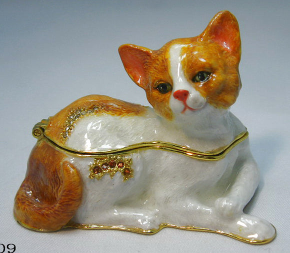 (T) * 24K Brushed Gold Jeweled Curled Cat * Trinket Box * JB29009