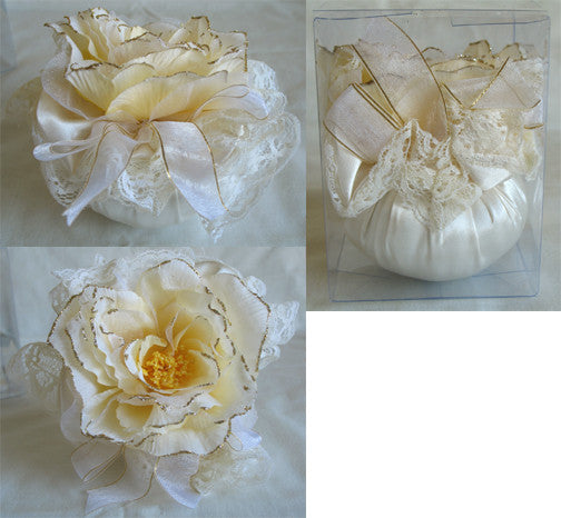 Sachet Pillows (A) Cream Colour, Ribboned & Laced, 12cm in Height, Scented Rose