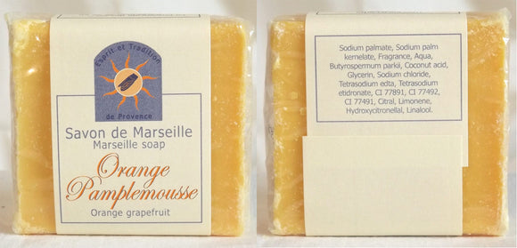 (S) Marseille Vegan Soap - Orange/Grapefruit Fragrance 100 g