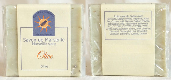 (S) Marseille Vegan Soap - Olive Leaf 100 g - With pieces of Olive Leaves - exfoliating