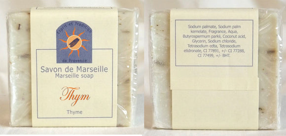 (S) Marseille Vegan Soap - Thyme flower 100 g With pieces of  Thyme Flowers - exfoliating