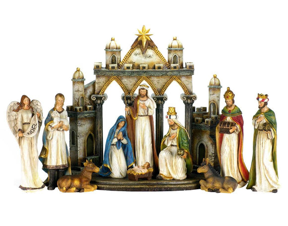 Nativity Set - 10 Piece Nativity with Background - N5T